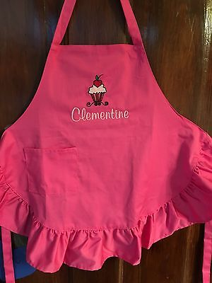 Perfect for unique nameFree personalizing pink ruffled embroidered child's apron