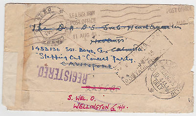 1945 Bma Burma Env Redirected India S.f.a. Base Army Post Office Reg. Env- Gb