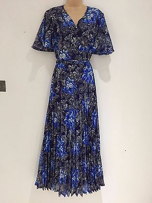 Vintage 70's Blue Mix Floral Print Belted Pleated Boho Evening Maxi Dress 12