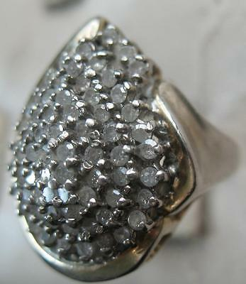 Fabulous Vintage Sterling Artisan White Sapphire Teardrop Dome Ring Signed Cm