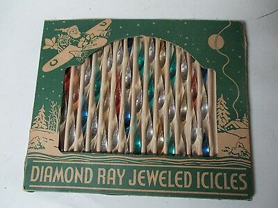 14 Diamond Ray Twisted Metal Icicle Xmas Ornaments in Original Green Box
