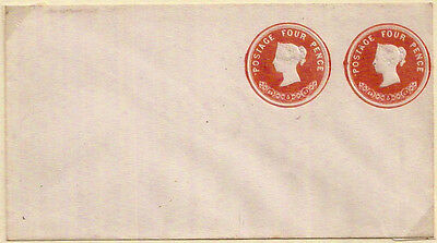 1867 QV 4d+4d STAMPED TO ORDER STO POSTAL STATIONERY ENV MINT UNUSED