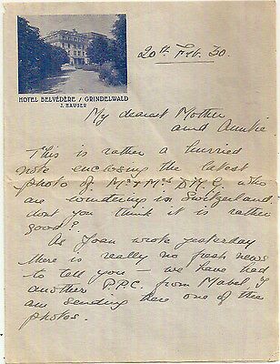 1930 Hotel Belvedere Grindelwald Switzerland Pictorial Illustrated Letter- Gb