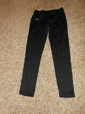 Girls Under Armour Pant Size Large Youth Black Fitted Legging Athletic EUC
