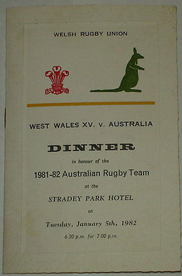 West Wales Australia Rugby Union Dinner Menu 1982 40 + Autographs