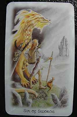 Six of Swords The Celtic Dragon Tarot Single Replacement Card Excellent