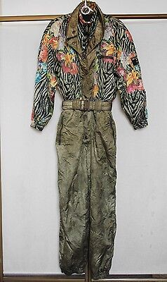 Vintage 80s HEAD Floral Jungle Print Ski Suit All-In-One Snowsuit Onesie S/M