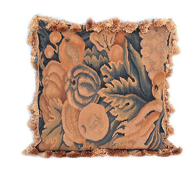 """18"""" Antique Finished French Gobelins Tapestry Weave Wool Aubusson Pillow Cover"""