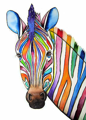 """*ZEBRA* LARGE 16 X 12"""" A3 SIGNED PRINT From Original Watercolour Maria Moss"""
