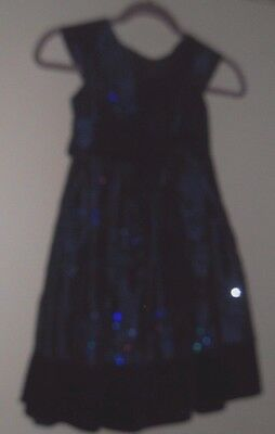 Girl's Sz 6X Midnight Blue Special Occasion Dress Sequinned Party Outfit Set