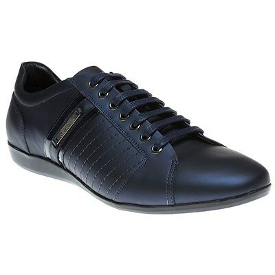 New Mens Versace Collection Blue Formal Leather Trainers Lace Up