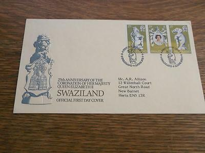 Swaziland 1978 Cover Fdc To Great Britain Embossed Lion    Rs
