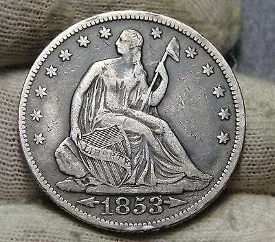 1853 Seated Liberty Half Dollar 50 Cents. Nice Coin Free Shipping  (5686)