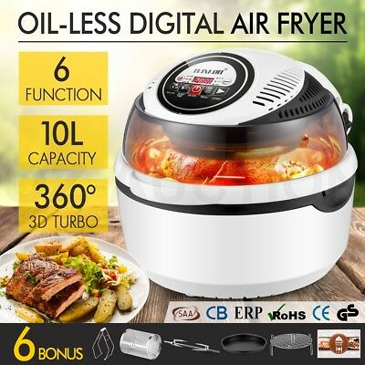 1300W 10L Air Fryer Turbo Portable Healthy Convection Oven Cooker Rotisserie