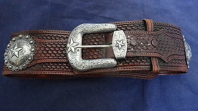 Amazing Vogt Sterling Silver Parade Show Leather  With 5 Medallions Belt