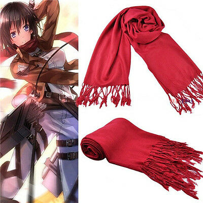 Attack on titan Shingeki no Kyojin Cosplay Mikasa Ackerman Scarf Costume ☆