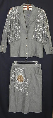 Carlton LTT Vintage Skirt Suit S 42 Gray Gold Silver Soutache Big Shoulders #N5