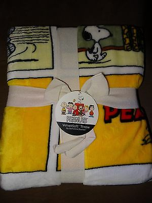 "Peanuts Snoopy Comic Strip VelvetSoft Throw-55"" X 70""-Oversized Cozy Comfort-New"