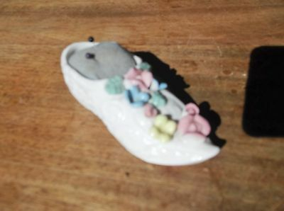 Collectable Mini White China Slipper Shoe Pin Cushion With Raised Flowers