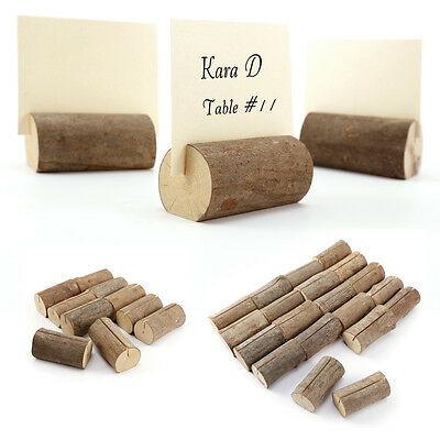 Wood Wedding Party Card Holders Place Note Photo Table Name Clips 10/20pcs