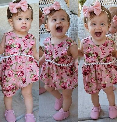 Summer Newborn Toddler Baby Girls Floral Bodysuit Romper Jumpsuit Outfit Clothes