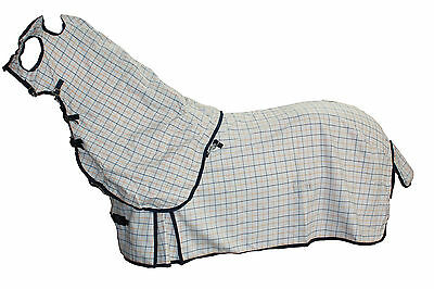 Axiom Polycotton Blue & Yellow Ripstop Unlined Horse Rug & Hood Set 6'6