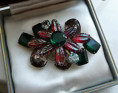 Vintage Iridescent Molded Red With Green & Lilac / Rhinestone Flower Brooch