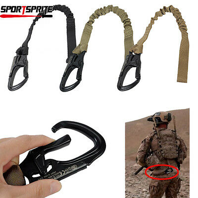 Tactical Military Paintball Elastic Safety Lanyard Belt Strap Steel Hook Emerson