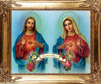 Large Sacred Heart Of Jesus And Mary Gold Framed Picture Statues Candles Listed