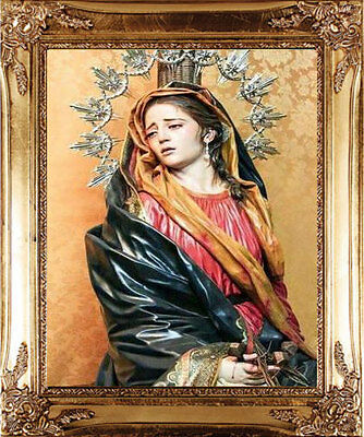 Large - Virgin Mary Our Lady Gold Picture Frame - Statues Candles Crosses Listed