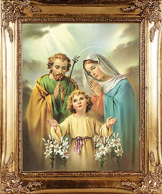 Large The Holy Family Gold Framed Picture - Mary Jesus - Statues Candles Listed