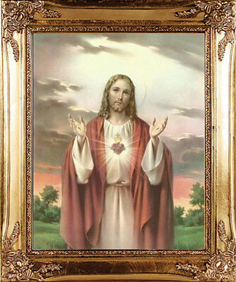 Large Sacred Heart Of Jesus Gold Framed Picture - Candles & Statues Also Listed