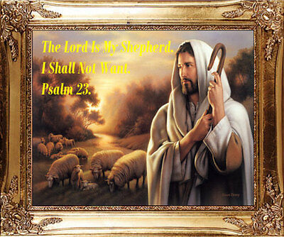 Large Psalm 23 The Lord Is My Shepherd Gold Framed Picture Statues Candles Avail