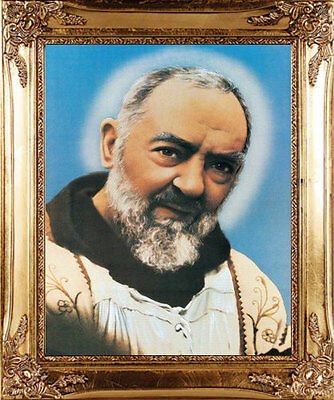 Large Padre Pio Saint Gold Framed Picture - Statues Candles Crosses Also Listed
