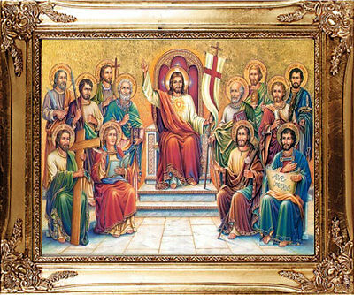 Large - Jesus & Disciples / Apostles Gold Framed Picture Statues Candles Listed