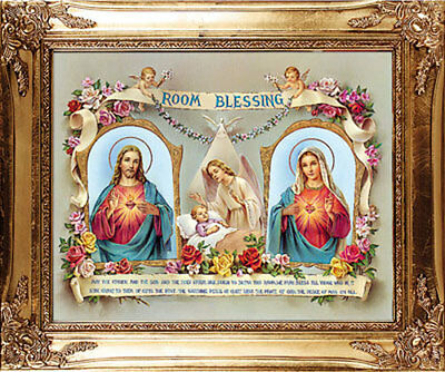 Large Room Blessing Sacred Heart Of Jesus & Mary Framed Picture - Others Listed
