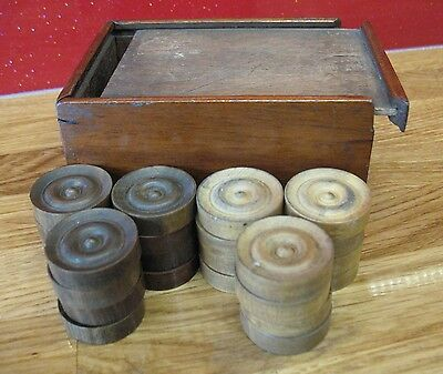 Antique Draughts Set Vintage Board Game Checkers Collector Dealer Chess Treen