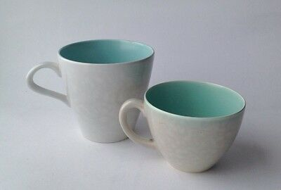 Two Poole Pottery Twintone Cups in Seagull and Ice Green Colourway Coffee & Tea