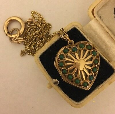 Vintage Large Yellow Gold And Jade Ornate Heart Double Locket And Chain
