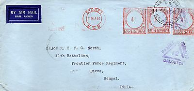 """CENSORED Cover """" SYDNEY to BENGAL"""", major north frontier force regt"""