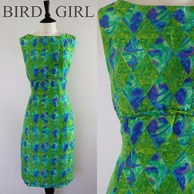 Floral Geometric Print 1950S Vintage Green Silk Wiggle Hourglass Dress 10-12