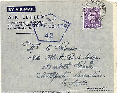 """R.A.F. Censored Air mail letter from """"NORTH AFRICA to SOUTHPORT"""" F.P.O.*07,1944"""