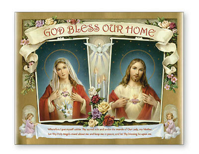 God Bless Our Home Sacred Heart Jesus & Mary Canvas Picture Catholic Religious