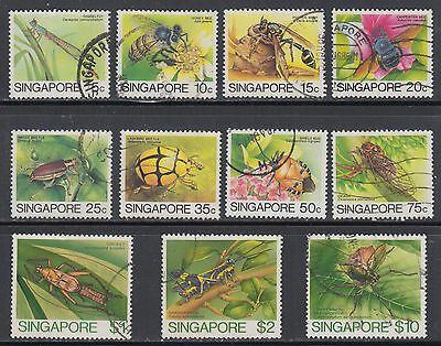 Singapore Scott 453//464 VF Used 1985 Insects Definitive Set