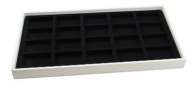 Large White 1 Inch Deep Jewellery Display Tray & Black Velvet Tray Liner