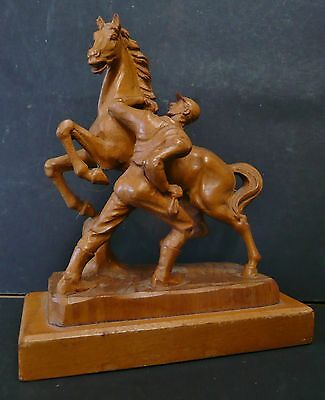 Hand carved wooden horse & groom Marley style design