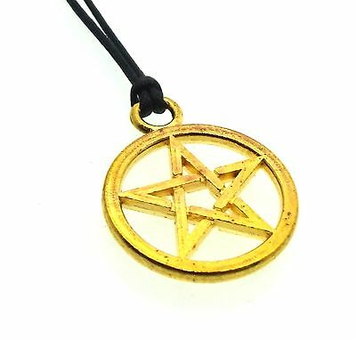 Gold Coloured Pagan Pewter Pentacle Pentagram Pendant with Cord