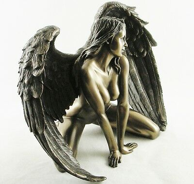 "Naked Kneeling Female Angel Figurine | Nude Erotic Statue ""Passion"" 