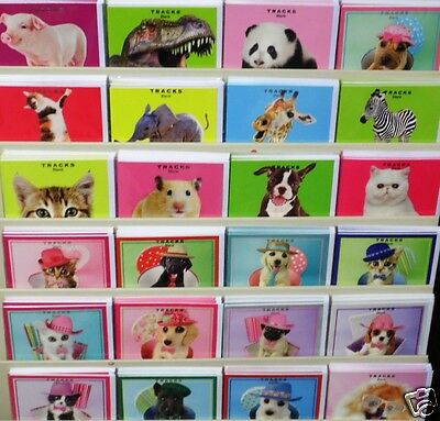 12.5p!  240 CUTE PETS PHOTOGRAPHIC CARDS 40 designs x6, 3 sizes,1 price -wrapped