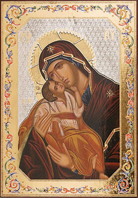 Our Lady Of Perpetual Help Wooden Plaque Picture - Statues And Candles Listed